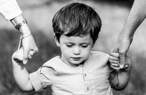 Boy holding parents hands, Petworth Park