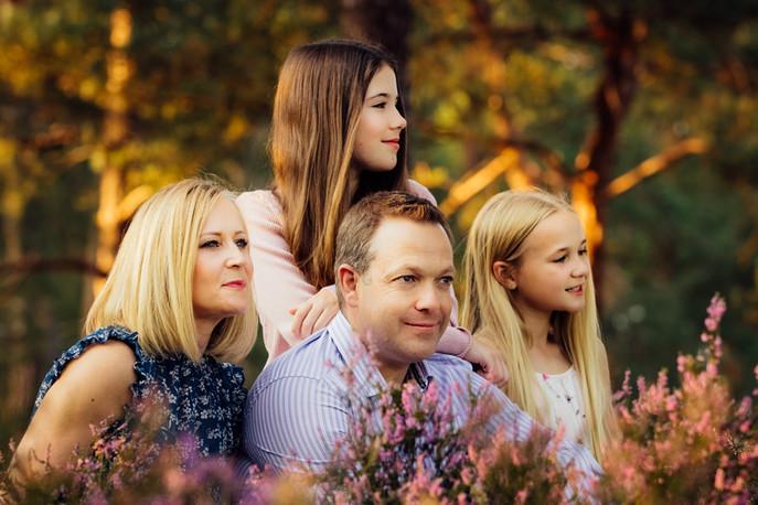 Family in summer at Frensham Ponds, Surrey