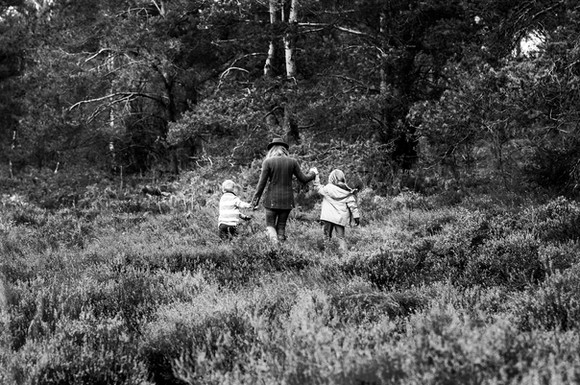 Mother and sons, Ambersham Common, West Sussex