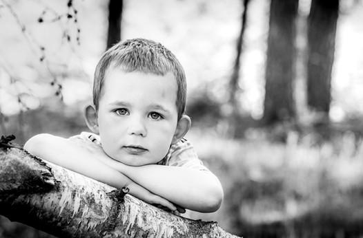 Boy in forest, Midhurst, West Sussex
