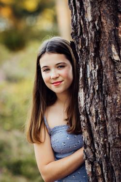 Girl in forest, Frensham, Surrey