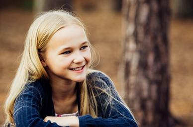 Girl photographed at Frensham Little Pond, Surrey