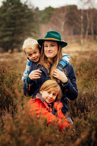 Mother and sons, outdoor photography, West Sussex
