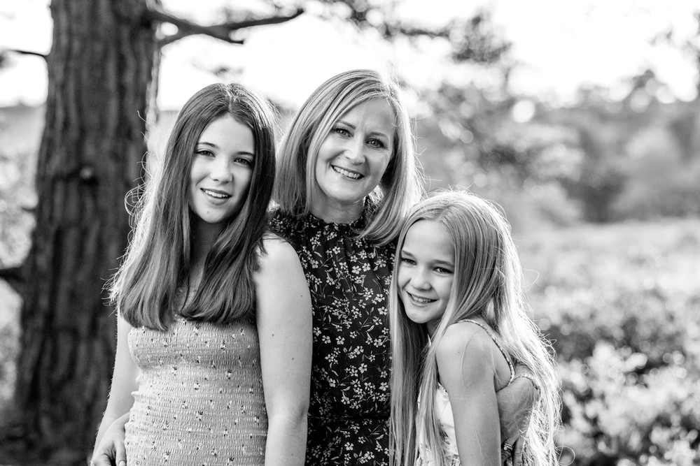 Mother and daughters photographed at Frensham Ponds