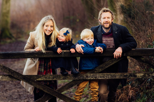 Family by gate, Devils Punchbowl, Surrey