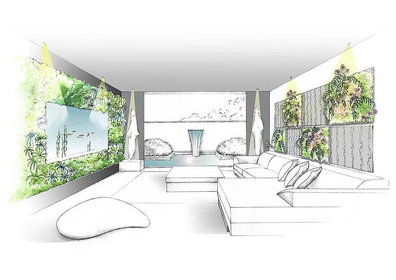 Mur végétal intérieur contemporain avec aquarium