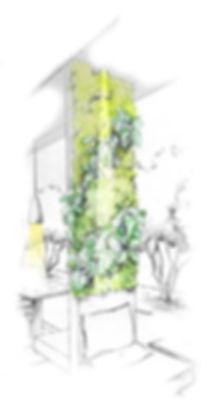 Exemple de jardin vertical dans un restaurant