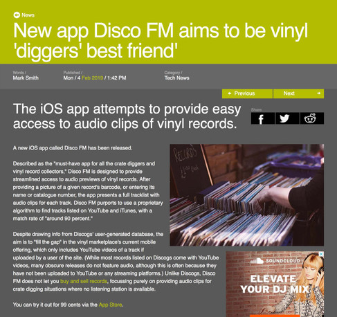 New app Disco FM aims to be vinyl 'diggers' best friend'