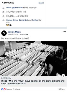 Sample Magic Facebook Page