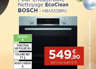 Four encastrable nettoyage EcoClean BOSCH - HBA553BR0