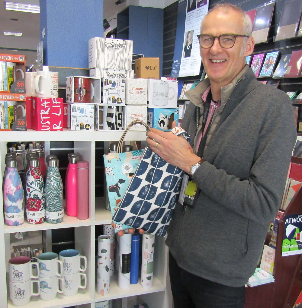 Mike from Readings with locally and hand-made reusable book bags by Cranky Cloud.