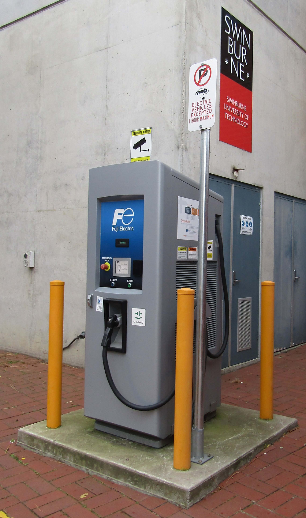 Hawthorn's only publicly available electric car charging station at 20 Williams Street in Swinburne University.