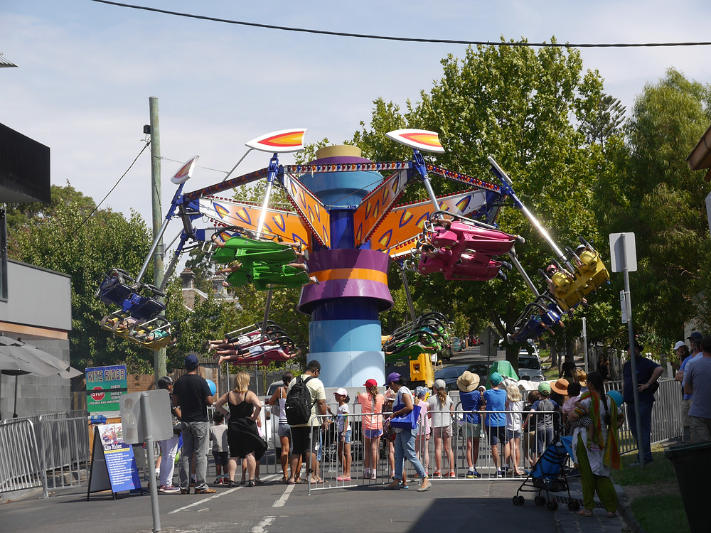 Amusement ride at the Glenferrie Festival.