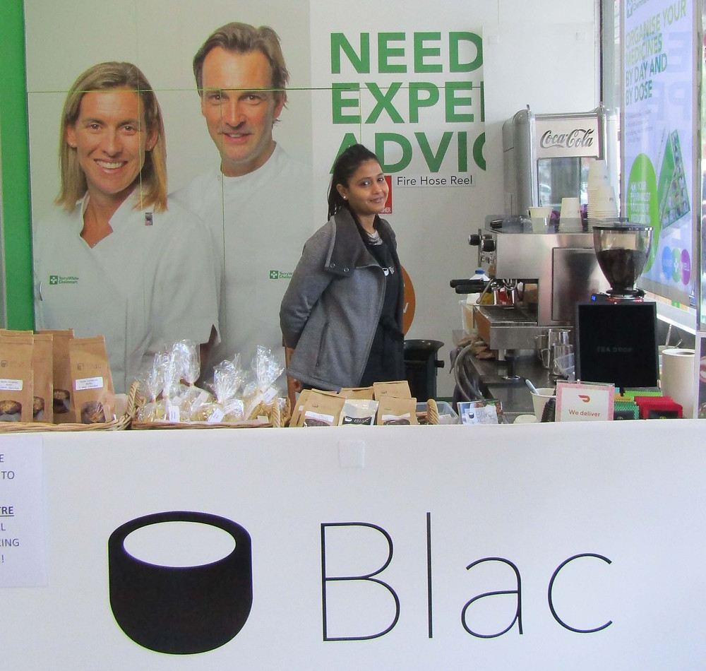 Cafe Blac coffee cart in Terry White Chemmart Pharmacy.
