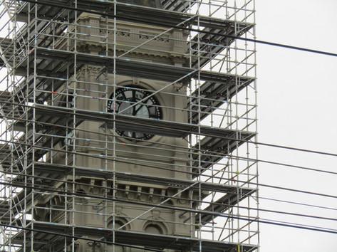 Refurbishments of the Hawthorn Arts Centre clock tower April 2020