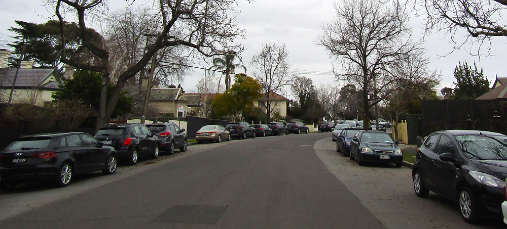 Cars parked along one of Glenferrie's side streets.