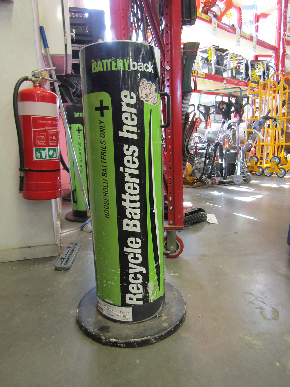 Bunnings at 230 Burwood Road, Hawthorn in-store battery collection bin.