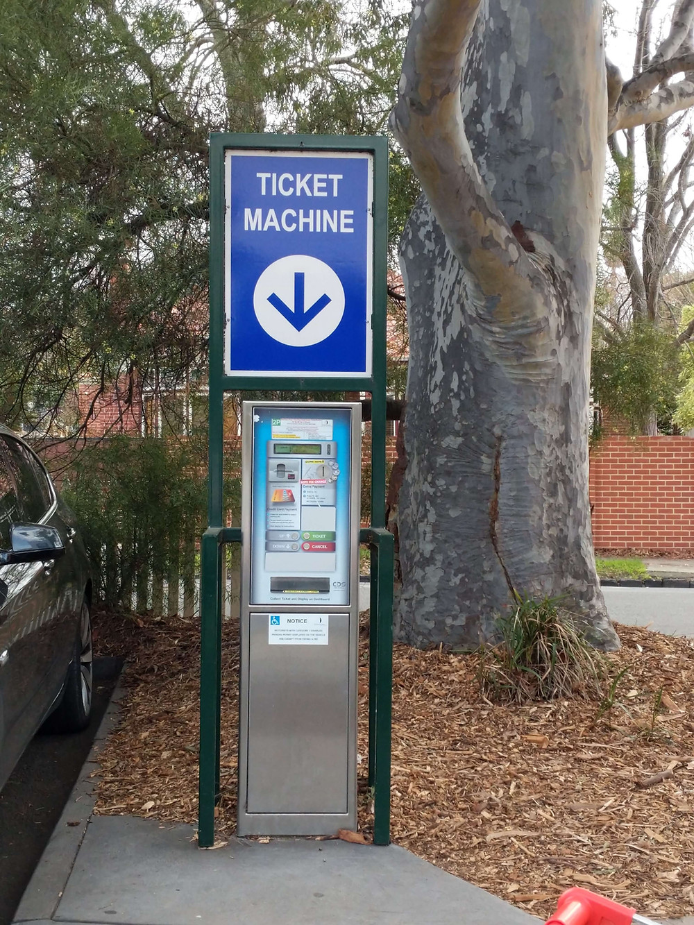 Parking ticket machine in Lido Arcade carpark.
