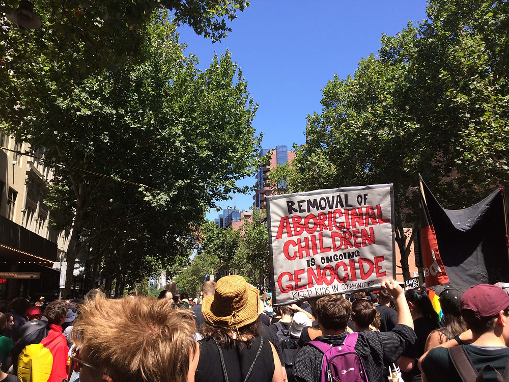 2019 'Invasion Day' rally in Melbourne CBD.