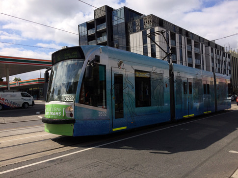 Art Tram heading North of Glenferrie Road