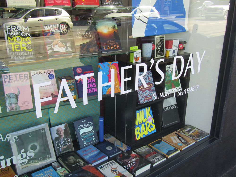Readings Hawthorn (701 Glenferrie Road) Father's Day window display.