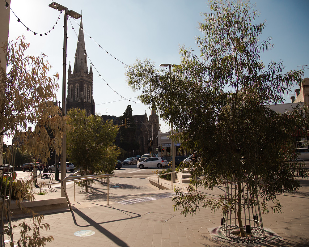 Glenferrie's Civic Space located on the corner of Glenferrie and Burwood Roads.