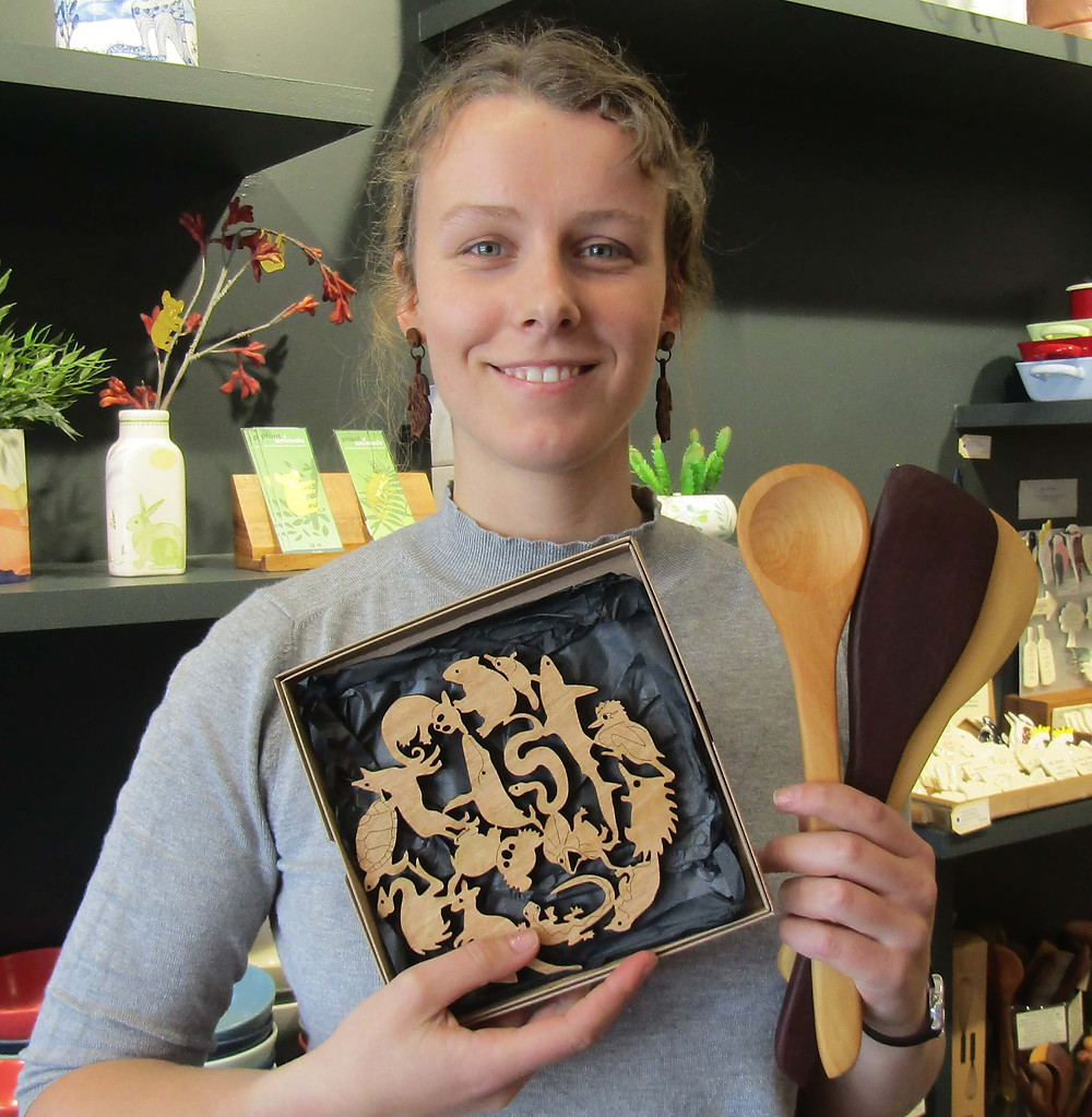 Alana from Blackbird and Fox showing off some original Australian timber gifts.