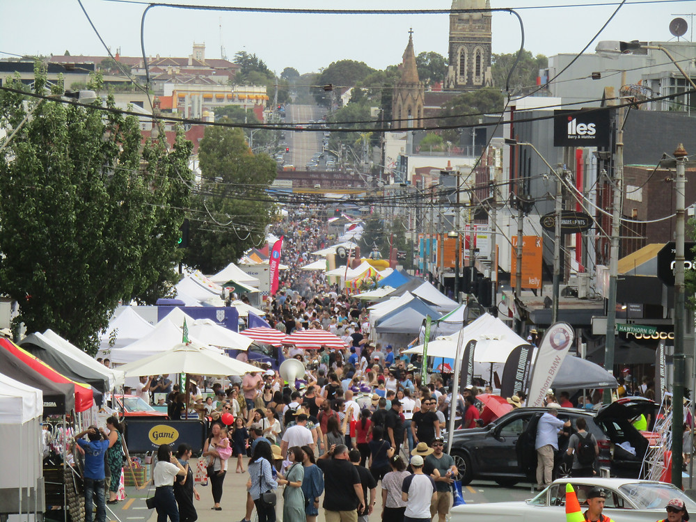 Looking south from Barkers Road at the festival attendees.