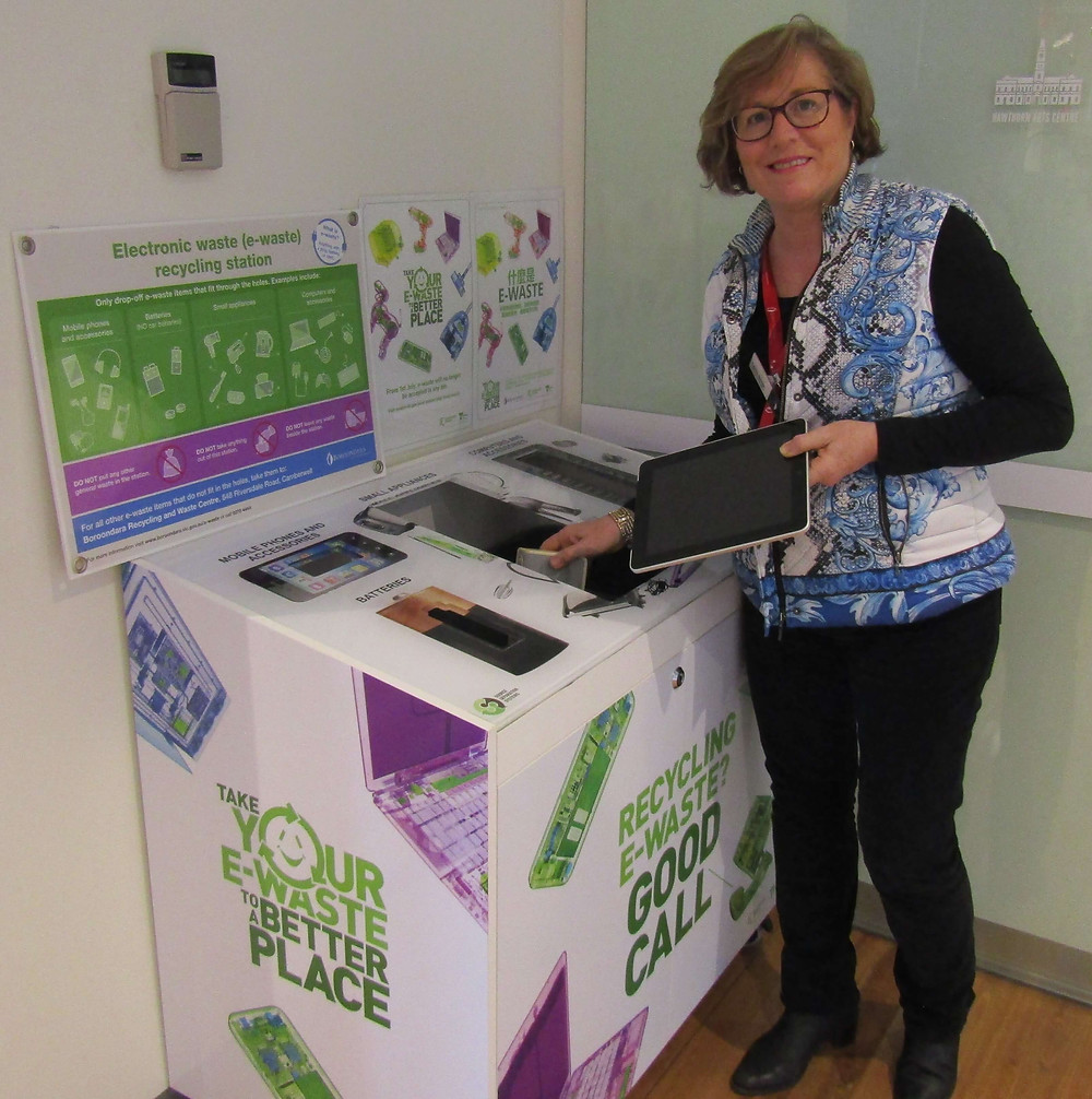 Felicity from Hawthorn Arts Centre disposing e-waste at the Arts Centre collection bank located at the east entrance.