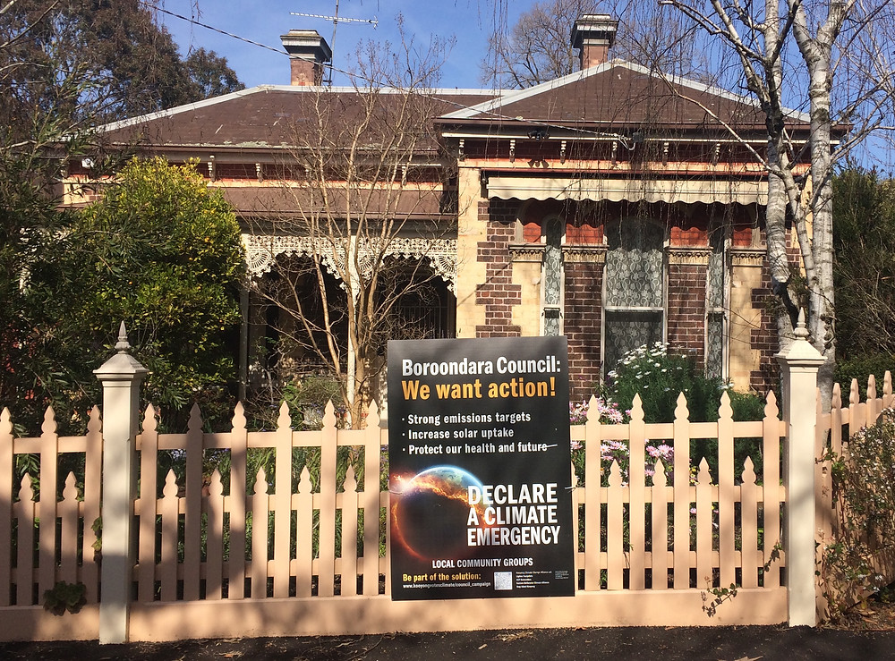 Climate action poster on local Glenferrie residence.