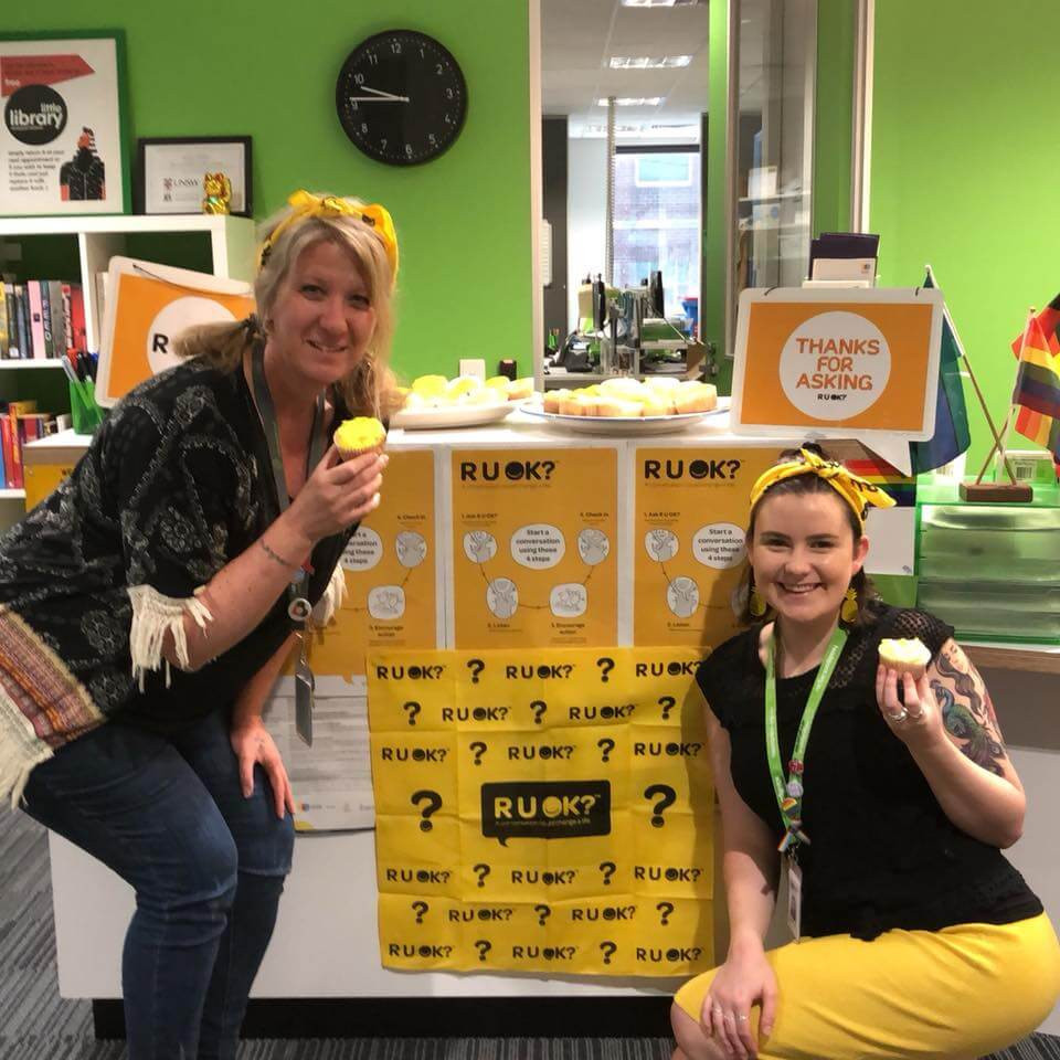 Karen (left) and Lily (right) from Headspace Hawthorn, Level 1/360 Burwood Road celebrate R U OK? Day.