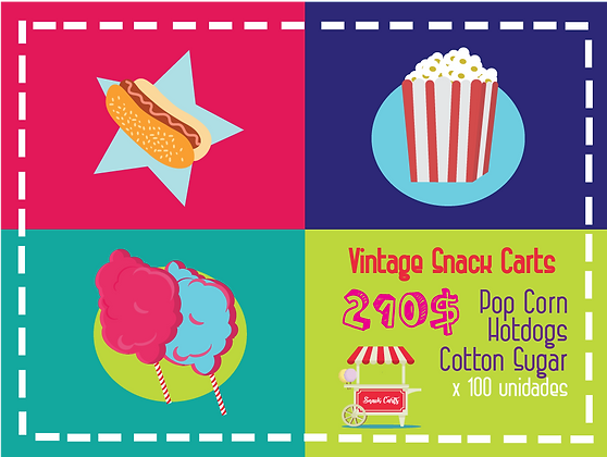 SNACK PACKS POP CORN + HOT DOGS + COTTON SUGAR x100 C/U