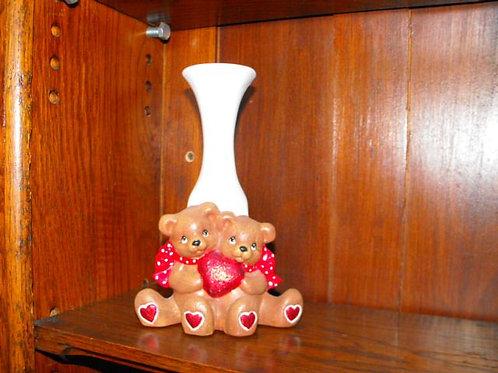 Cuddle Bears Heart Bud Vase