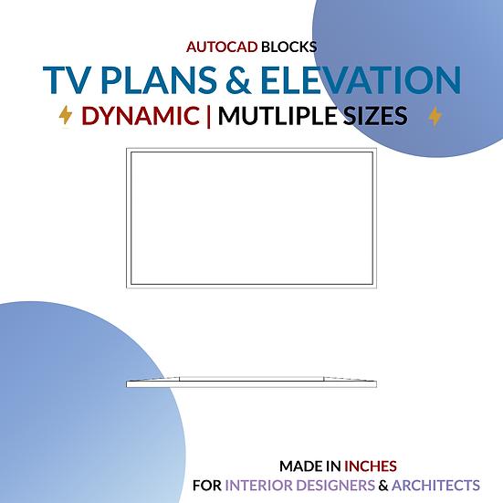 Autocad Dynamic Block | Standard Tv Blocks - Plan & Elevation