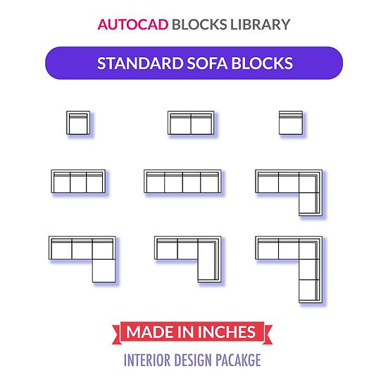Autocad Standard Sofa Blocks | Plan View