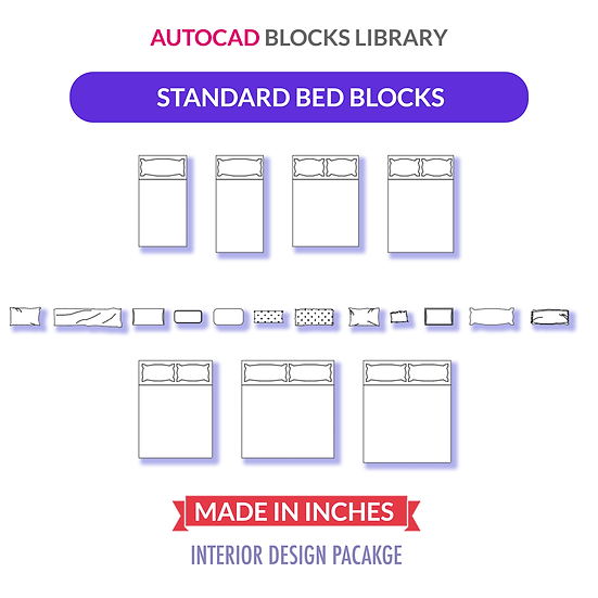 Autocad Standard Bed Sizes Blocks