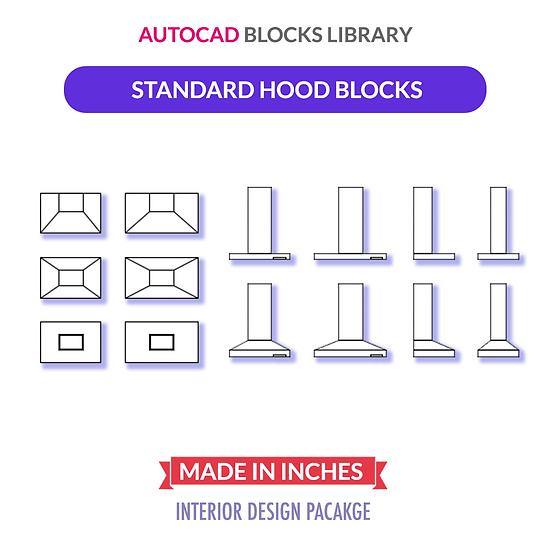 Autocad Standard Hood Blocks | Plan & Elevation Views
