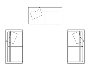 3 Copies of the same sofa block after applying a change in Autocad