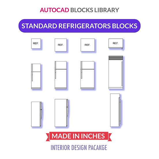 Autocad Standard Refrigerator Blocks | Plan / Front / Side Views