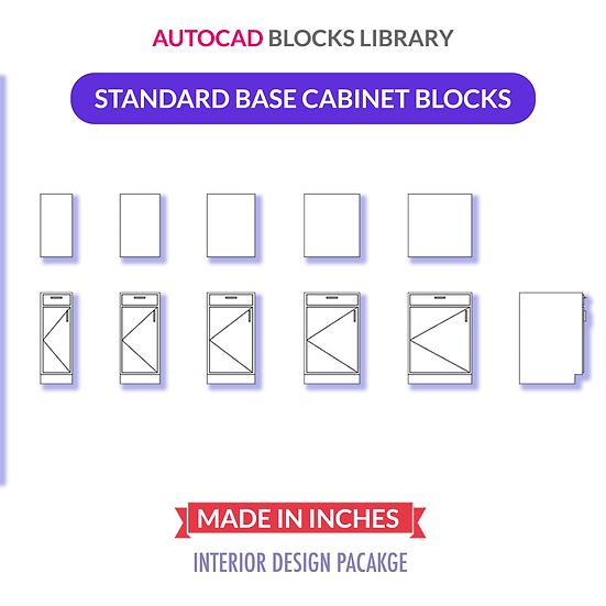 Autocad Standard Base Cabinets Blocks   Plan & Elevation Views