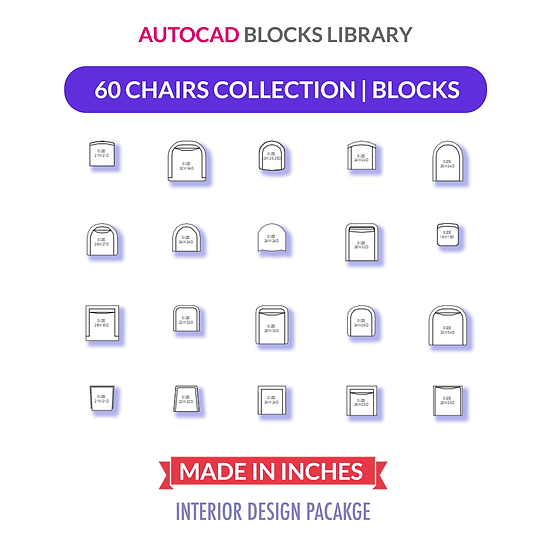 Autocad Chairs Blocks Collection | Plan View