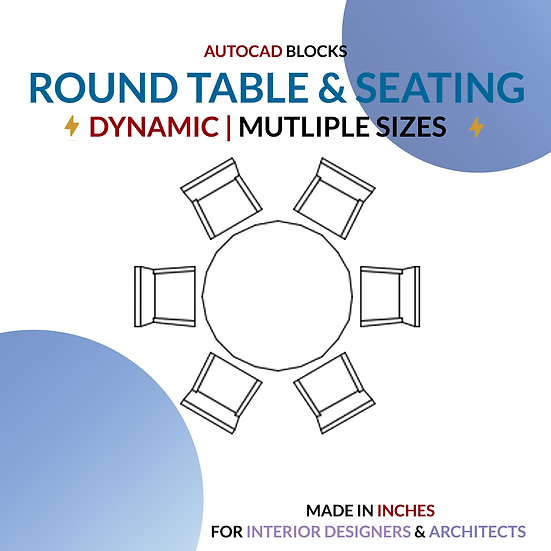 Autocad Dynamic Block | Round Tables with Seating Options