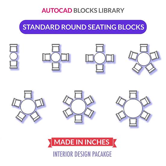 Autocad Standard Round Tables Blocks | Plan View