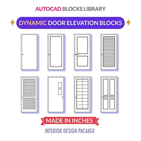 Autocad Standard Door Blocks | Dynamic | Elevations
