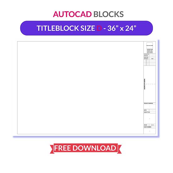 Autocad Titleblock | Size D - 36 x24 | Free To Download