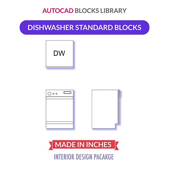 Autocad Standard Dishwasher Block   Plan - Front & Side Views