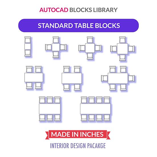 Autocad Standard Rectangular & Square Tables Blocks | Plan View