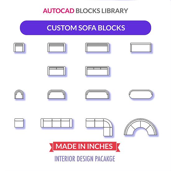 Autocad Custom Sofa Blocks | Plan View