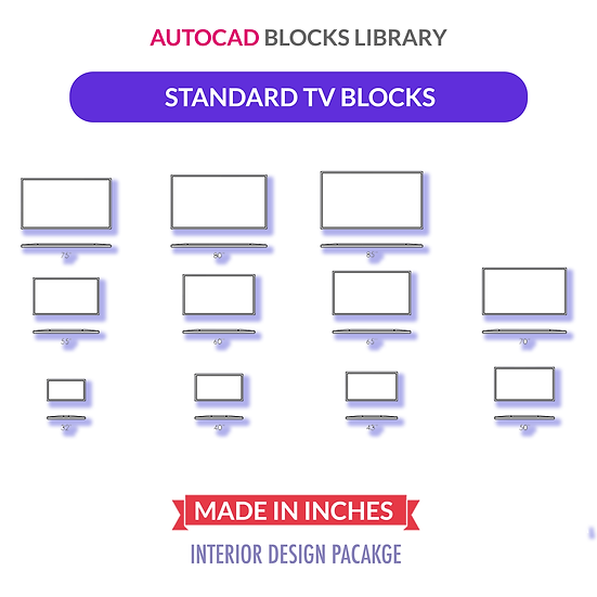 Autocad Standard U.S. TV Blocks | Plan & Elevation Views