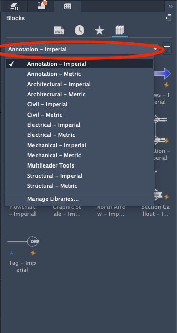 Autocad LT - Mac Screenshot | Blocks Tab - Libraries Icon - List Of Available CAD libraries